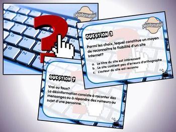 Ce document contient : - 24 questions à court développement concernant la désinformation ; - Une fiche de suivi ; - Un corrigé.  Vous pouvez utiliser ces cartes de différentes manières : - Cartes à tâches (travail autonome) ; - Questions « éclair » ; - Démarrer une discussion éthique relative aux différents enjeux de la désinformation (définition, causes, conséquences, solutions, acteurs, etc.)  Lien avec la progression des apprentissages : Des exigences de la vie en société.