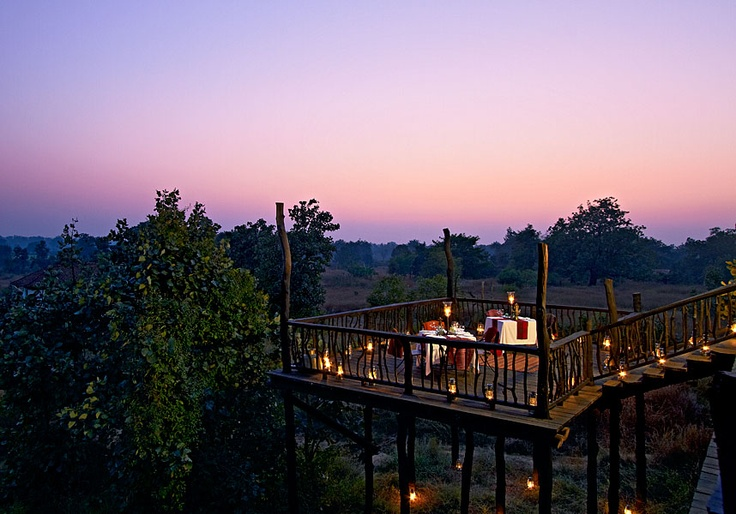 A candle light dinner on the lower deck at the Samode Safari Lodge, Bandhavgarh (M.P.) India