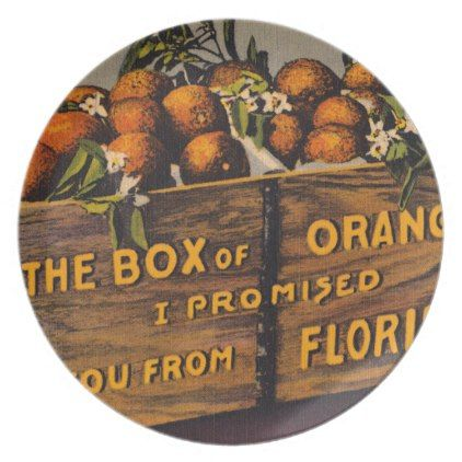 Vintage Retro Florida Oranges Plate - retro kitchen gifts vintage custom diy cyo personalize