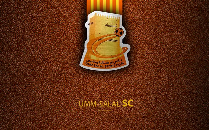 Download wallpapers Umm-Salal SC, 4k, Qatar football club, leather texture, Umm-Salal logo, Qatar Stars League, Umm Salal, Qatar, Premier League, Q-League
