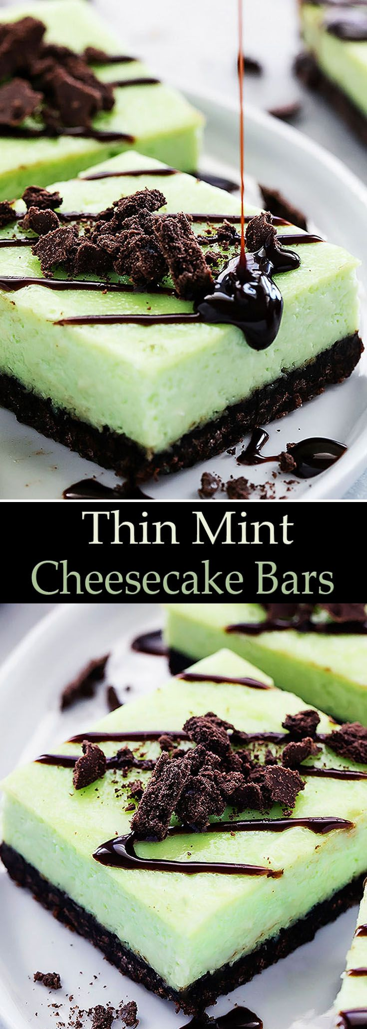 Thin Mint Cheesecake Bars