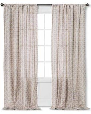 """Threshold Semi Sheer Prints Tile Curtain Panel - Brown Linen/Fresh White (95"""")"""
