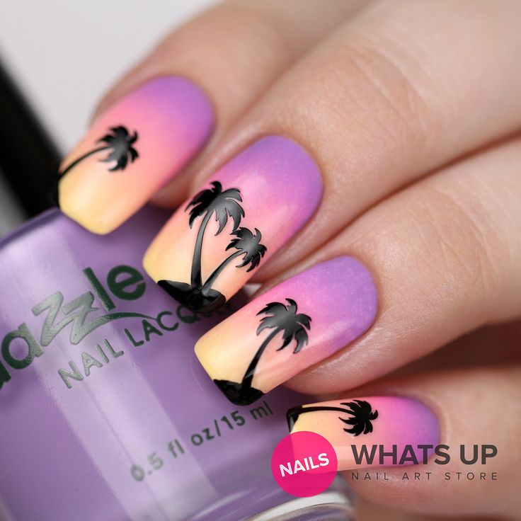 Palm Stickers for Nails, Nail Stencils, Sunset Nails, Nail Art, Nail Vinyls - Medium (20 Stickers & Stencils) : Beauty