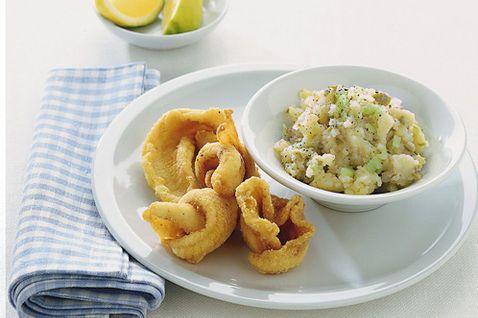 Riccioli di sogliola fritti con pure alle olive
