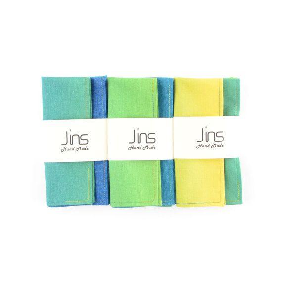 Yellow-green gradient cotton handkerchief with multi-colour edge stitched, multicolour pocket squares for men, unique designed handkerchief