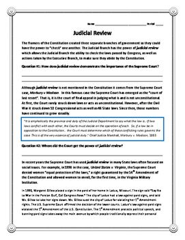 "Judicial Review Reading (Civics/American Government)  This 2-page reading reviews the concept of ""Judicial Review"". Outlines the definition, origin and examples of Judicial Review in important Supreme Court cases."