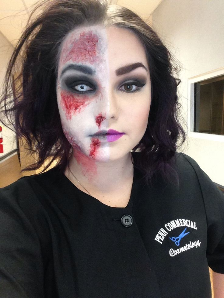 half zombiehalf regular halloween make up done by me - Where Can I Get Halloween Makeup Done