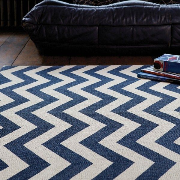 Onix Zig Zag Rugs On12 In Blue Free Uk Delivery The Rug Er
