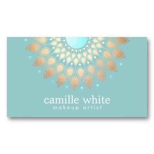Makeup Artist Elegant Gold Ornate Motif Turquoise Business Cards