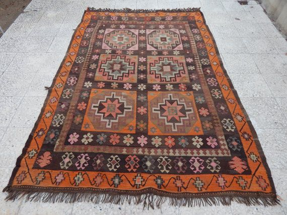 Bohemian Woven Pastel Kids Kilim Rug Authentic Turkish Kelim