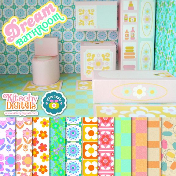 Dream Bathroom Dollhouse Papertoy Printable!
