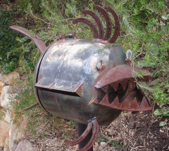 Closeup of unique fish mailbox