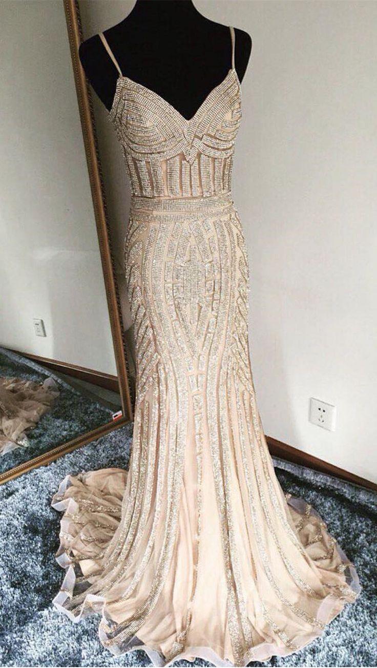mermaid prom dresses,unique prom dresses,champagne prom dresses,sexy prom dresses,spaghetti strap prom dresses @simpledress2480