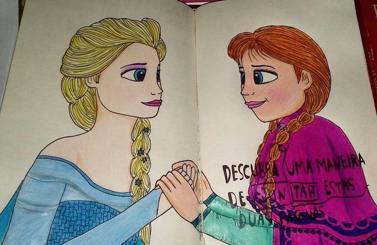 """""""Descubra uma maneira de juntar estas duas páginas"""", disse o Diário. E eu obedeci! ����❄❄❄ #desenho #draw #destruaestediario #wreckthisjournal #frozen #disney #sisters #anna #elsa #letitgo http://misstagram.com/ipost/1570070857064136696/?code=BXKAyA7gD_4"""