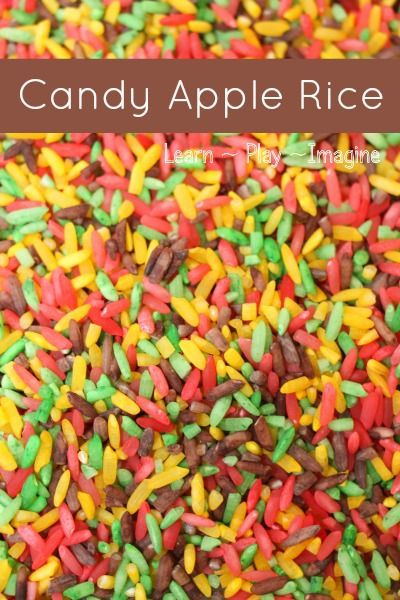 How to make CANDY APPLE RICE for sensory play in yummy fall scents and colors:  no alcohol or vinegar needed!