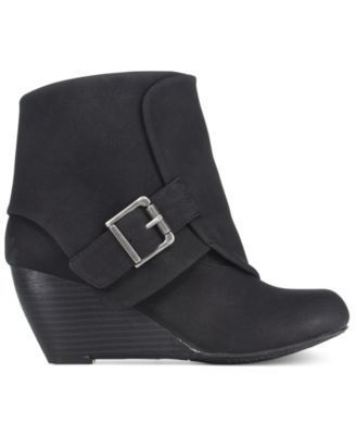 American Rag Coreene Cuffed Wedge Booties, Only at Macy's $79.50 American Rag's Coreene ankle booties are fashion-forward in a fold-over cuffed design fastened with a buckle and finished with a sleek wedge heel.