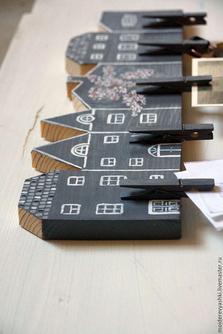 Купить держатель для фото и записок Сакура - серый, держатель для фото, сакура, домики, для записей, для фото