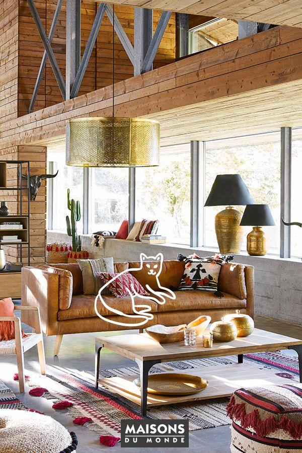 le canapé cuir vintage camel : un must have pour un salon tendance