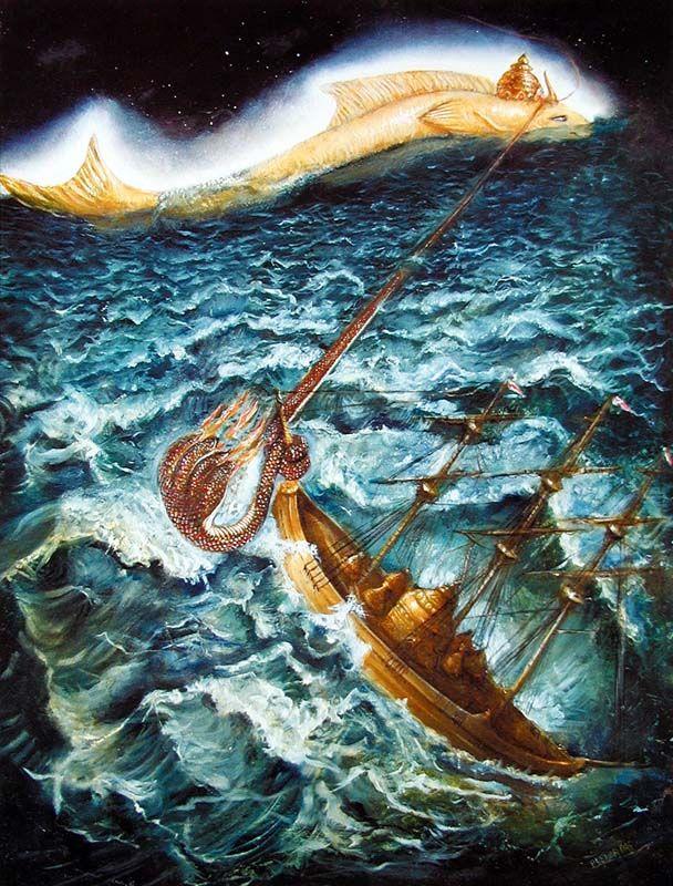 "The original ""Noah's ark"" guided by Matsya avatara through the waters of devastation"