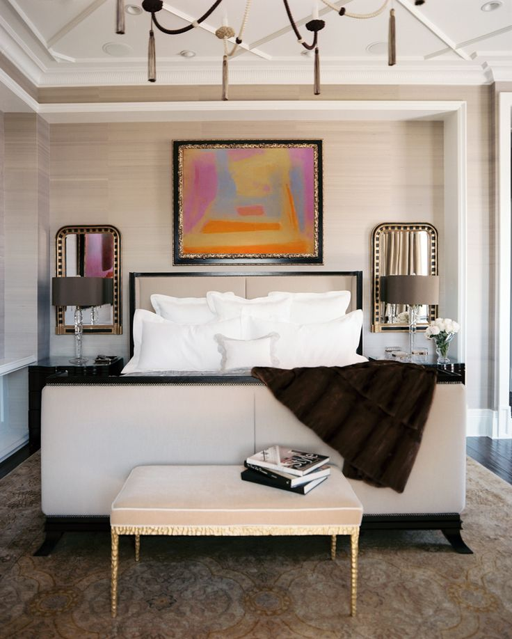 A Glamorous Home Influenced by 1940's Design | Interior Design by Jamie Herzlinger of Jamie Herzlinger Interiors | Photography by Neil Landino | Modern Sanctuary | Bedroom | Glamorous Bedroom | Master Bedroom | Glamorous Master Bedroom | Art | Modern Art | Lighting | Glamorous Lighting | Bedding | Glamorous Bedding