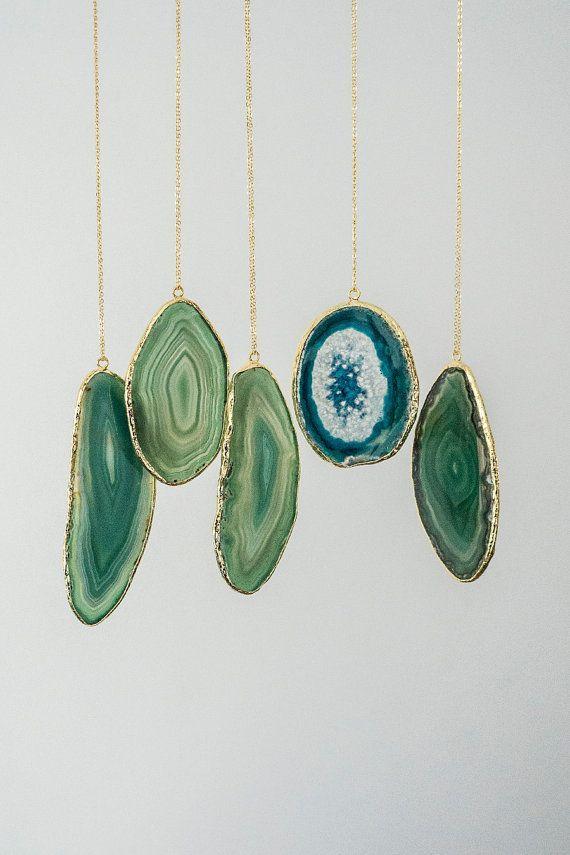 Green Slice Agate Necklace, Boho Necklace, Tribal Necklace, Layering Necklace, Layer Necklace, Pink Necklace, Gold Necklace, Christmas Gift #design #etsyretwt