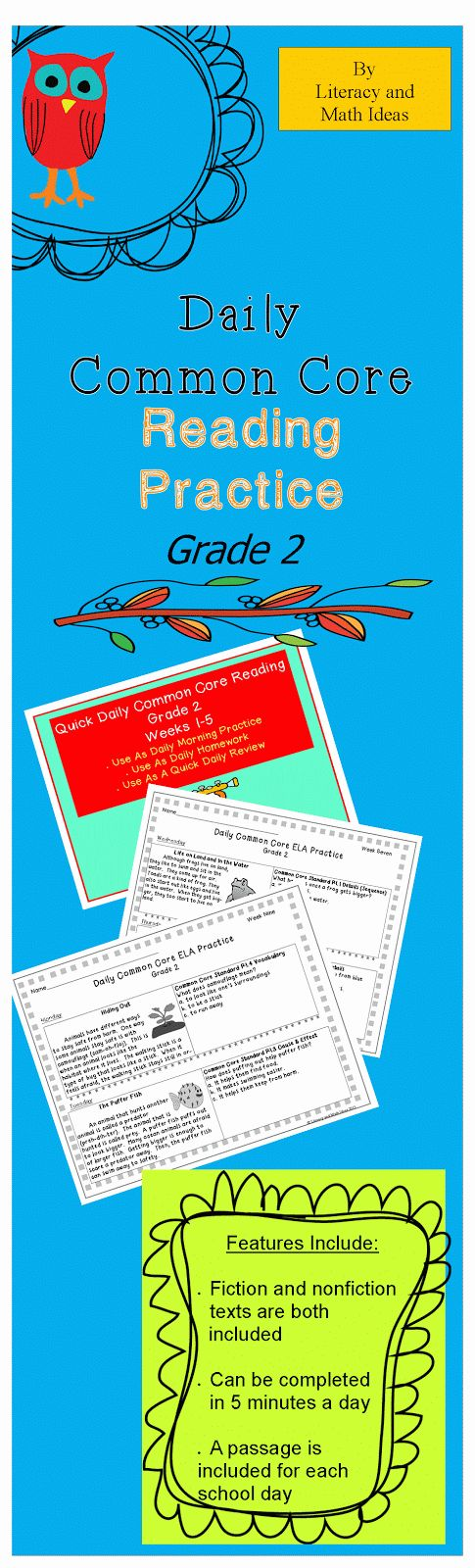 Daily Common Core Reading Practice~ This can be completed in just five minutes each day.  There is a short passage and Common Core questions for each school day.  Folktales, realistic fiction, science topics, and social studies topics are all included.  Each bundle contains five weeks worth of daily Common Core practice.  Many standards repeat across the weeks to provide steady Common Core review and keep comprehension skills sharp. $