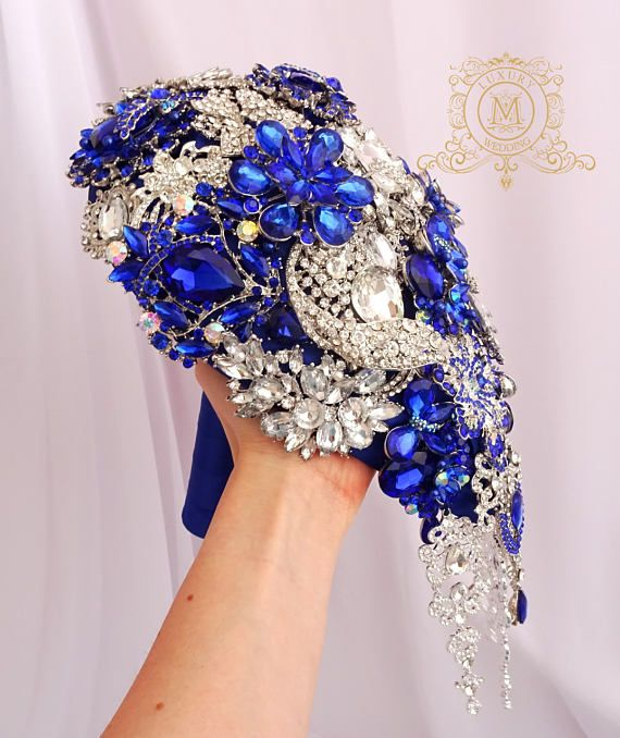 BROOCH BOUQUET jeweled with royal blue and silver cascading