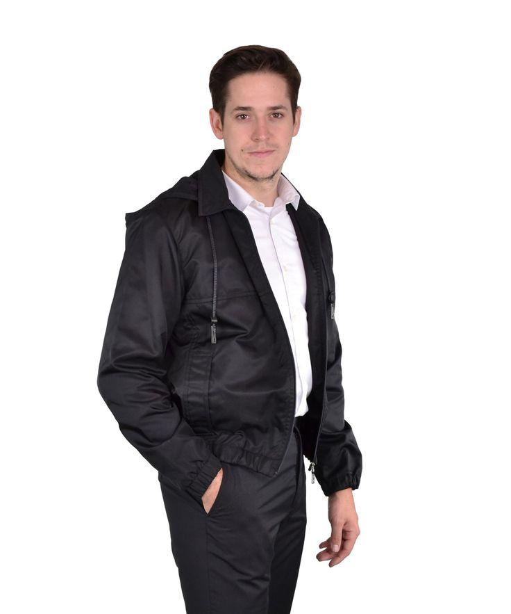 PRADA Men'S Hooded Nylon Bomber Jacket It 52'. #prada #cloth #cotton, poly & nylon