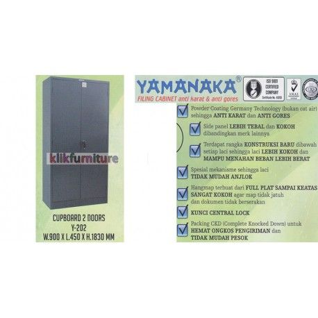 Y 202 Yamanaka Lemari 2 Pintu Besi Condition:  New product  ukuran : W : 900 x L : 450 x H : 1830 mm Anti karat dan anti gores
