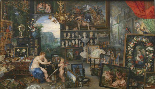 """La Vista, colaboración entre Jan Brueghel el Viejo y Rubens, perteneciente a la serie """"Los cinco sentidos"""", 1617, óleo sobre tabla."""