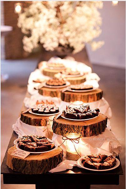 Wood Slab Dessert Table