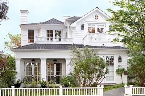 Best Home Exteriors White Picket Fence Gray Shingles Lanterns 640 x 480