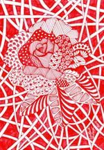 567 Zentangle Red Rose