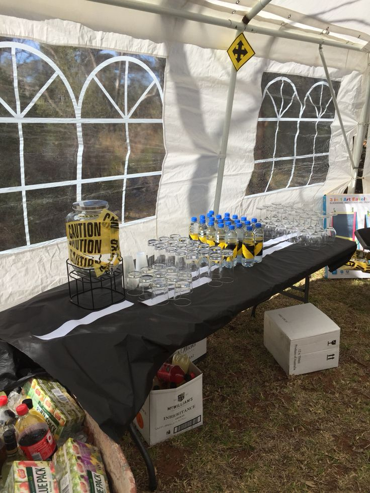 Drink station, with drinks in wheel barrows
