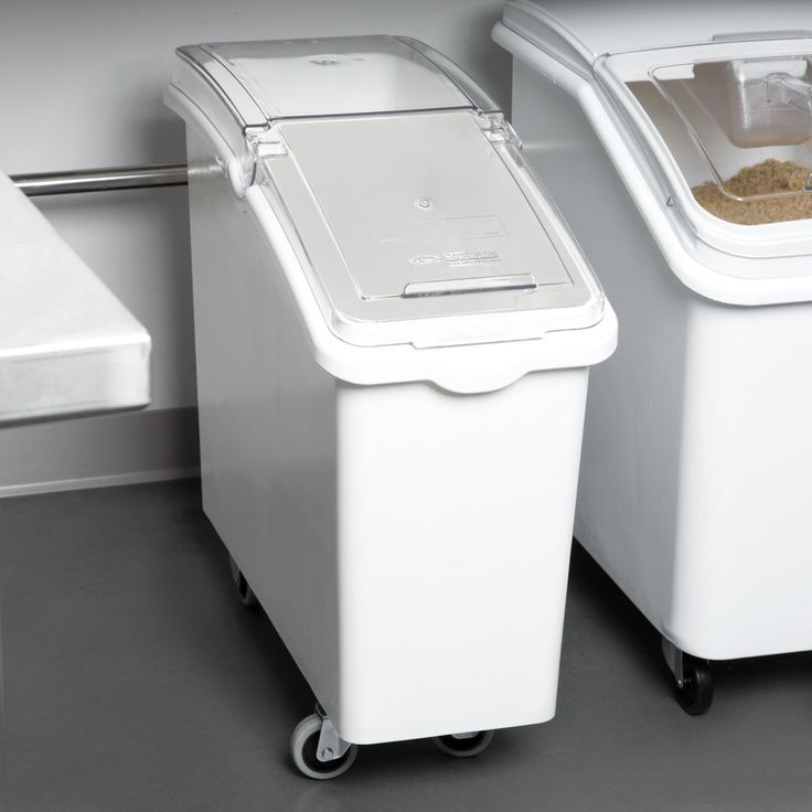 Continental 9321 21 Gallon White Mobile Ingredient Storage Bin with Lid
