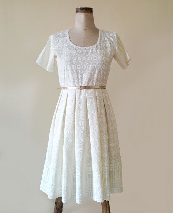 White Floral Chikankari Embroidered Pleated Dress by MograDesigns