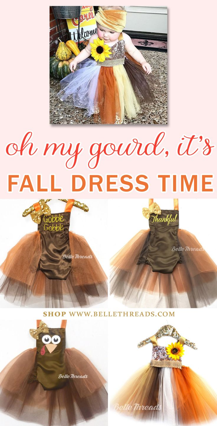 Celebrate your baby girl's fall birthday and Thanksgiving gatherings with a fancy tutu dress handmade by Belle Threads. We make the sweetest Sparkly Scarecrow Tutu Dress and the cutest Thanksgiving Turkey Tutu Sparkle Romper Dress. They're favorites of our customers for Thanksgiving and fall family photos in the leaves. Click to Shop our Favorite Fall Dresses www.bellethreads.com / fall dresses for thanksgiving / fall fashion for girls / thanksgiving day dresses / fall photo outfits for kids