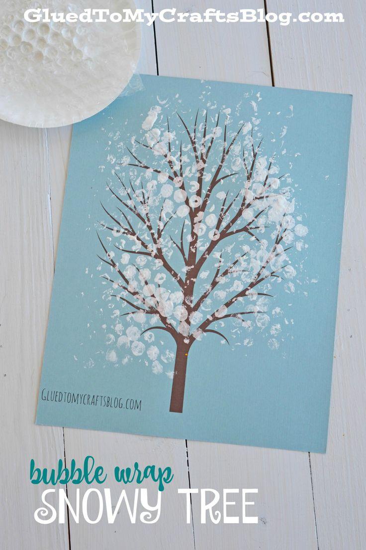 Bubble Wrap Snowy Tree Kid Craft w/free printable