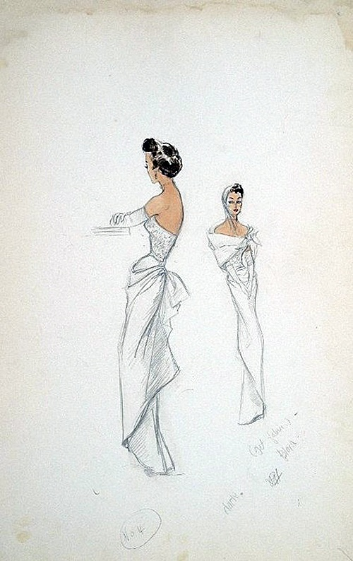 Edith Head sketch for Ruth Hussey in Mr. Music (1950)