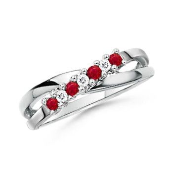 Angara Square Ruby and Diamond Semi Eternity Band in Platinum FdxTBHUy6
