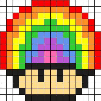 Rainbow Mushroom Perler Bead Pattern / Bead Sprite