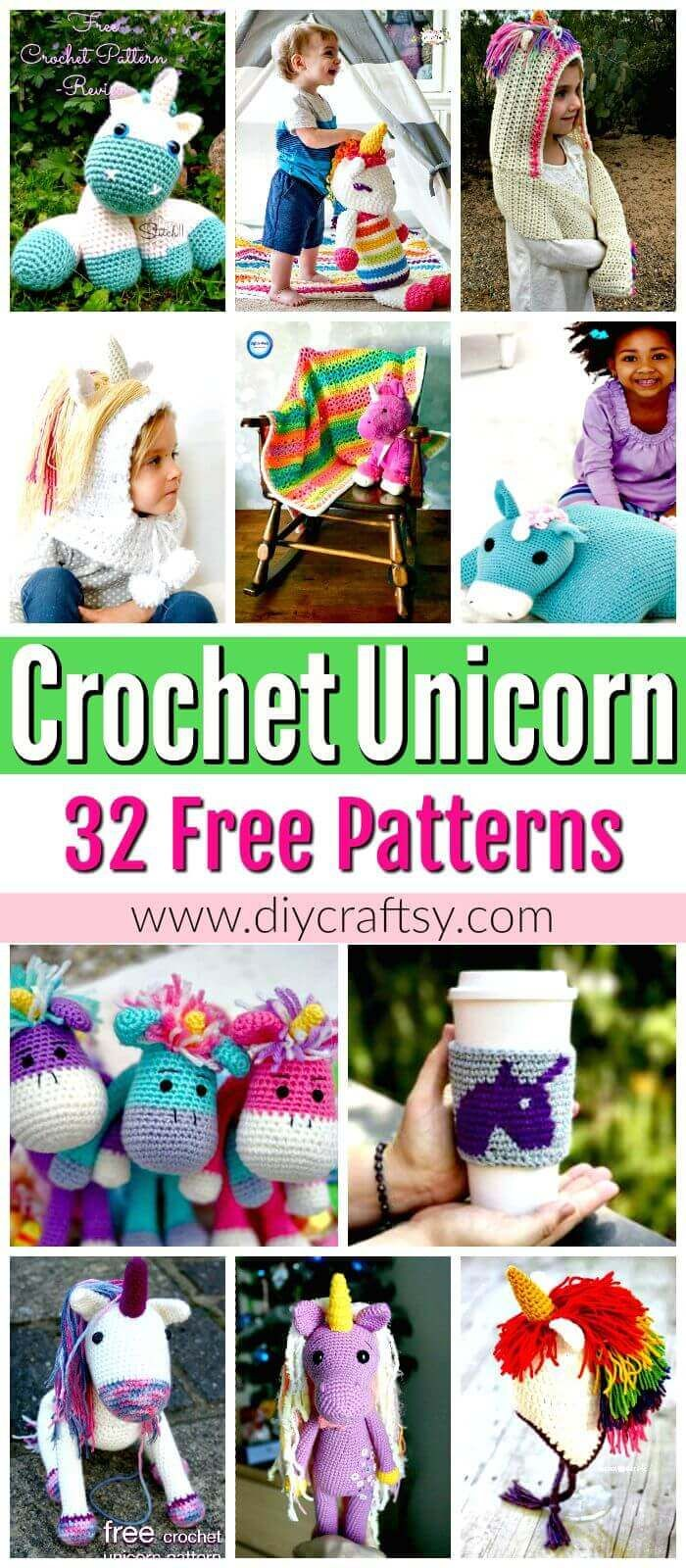 Crochet Unicorn Pattern- 32 Free Crochet Patterns - DIY & Crafts