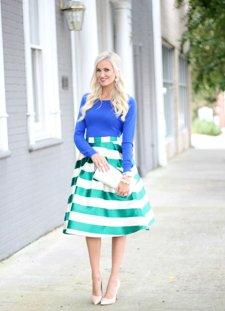 Chicwish Party Skirt/ Target Sweater / Nude Heels / YSL Clutch / Ily Couture Earrings (old) similar here / Bauble Bar Bracelet 1 & 2 / Michael Kors Watch / MAC Flat OutFabulousLipstick / Photos by John Runion I'm ALL about party skirts and this green stripe piece of work is rocking my world come …
