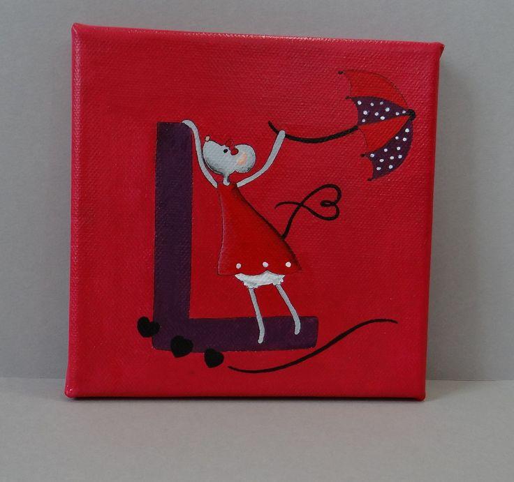 Petite toile peint à la main pour décorer les murs ou la porte d'une chambre d'enfant ou de bébé.   La première lettre du prénom de votre enfant, une jolie petite souris jo - 16713514
