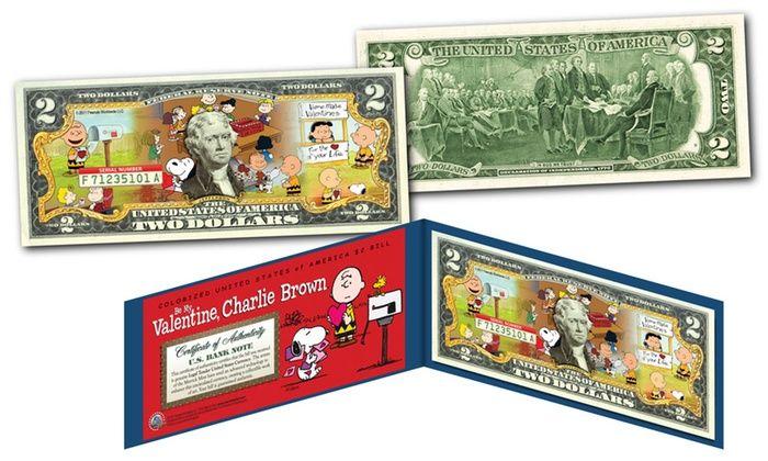 Be My Valentine, Charlie Brown Peanuts Genuine Legal Tender US $2 Bill: Be My Valentine, Charlie Brown Peanuts Genuine Legal Tender US $2 Bill