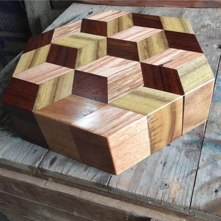 3D Hexagon Choppingboard made from reclaimed Ash, Stringybark and Jarrah