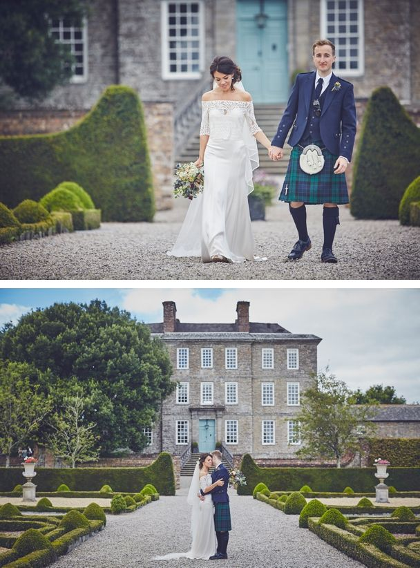 Bride and Groom Emma and Ross take a stroll through the landscaped grounds of the stunning Devon wedding venue Kingston Estate last Summer. Do love a groom in a kilt! #estatekingston #kingstonestate #weddingtartan #weddingkilt #devonweddingvenue #manorhousewedding #devonweddingphotography