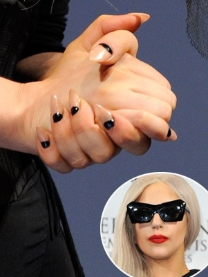 Lady Gaga with nude and black stiletto nails