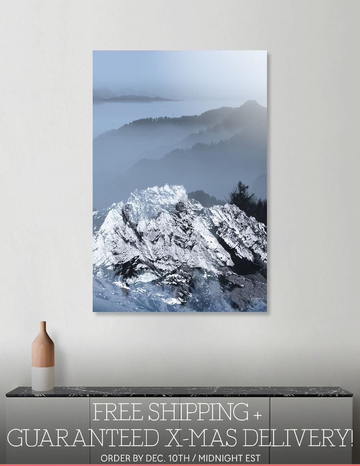 Discover «FOGGY BLUE MOUNTAINS v2», Numbered Edition Aluminum Print by Pia Schneider - From 55€ - Curioos #art #mountains #landscpae #blue #curioos #artprints #piaschneider #kunst #promo