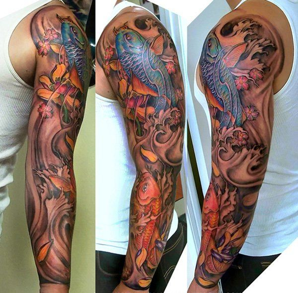 Tattoo design koifish full sleeve - 80+ Awesome Examples of Full Sleeve Tattoo Ideas  <3 !